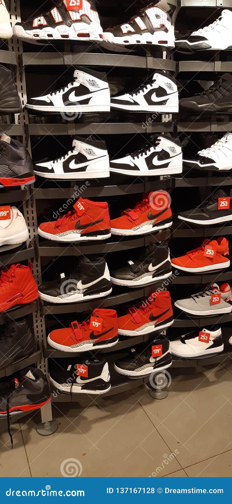Nike Sport Brand Footlocker Canada Red Black White Hightop