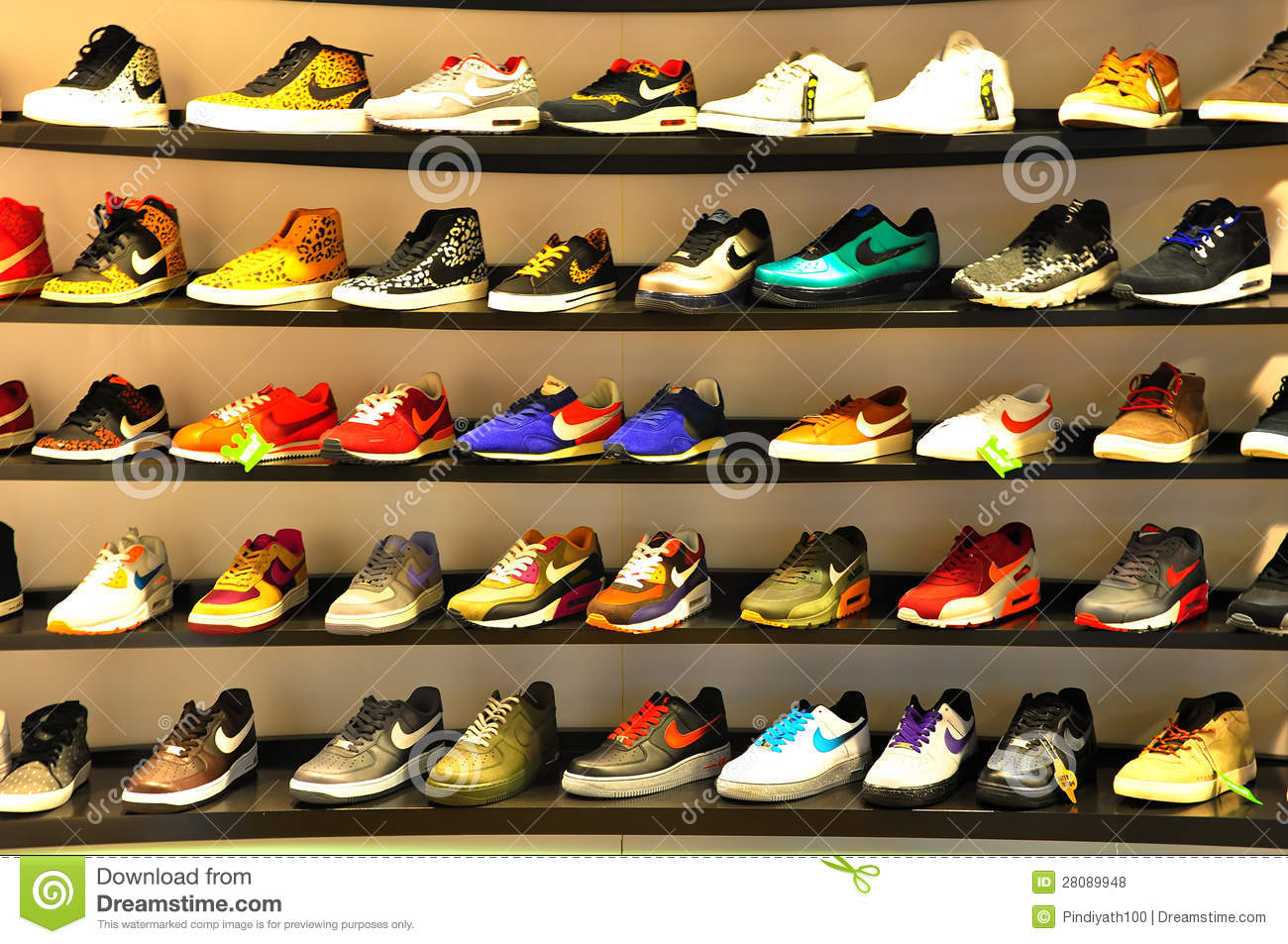 9da2e0ed Assorted nike sports shoes displayed on rack at a nike store in hong kong