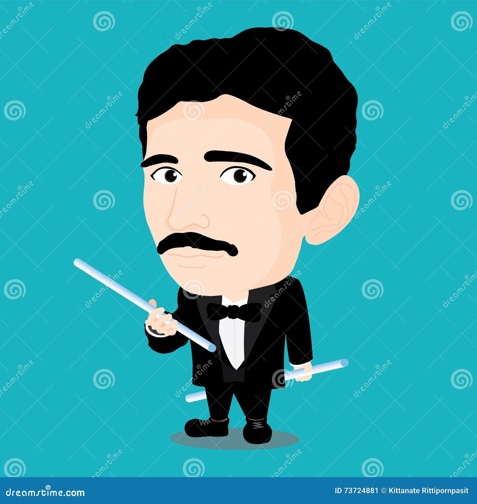 Nikola Tesla Character Stock Vector Illustration Of