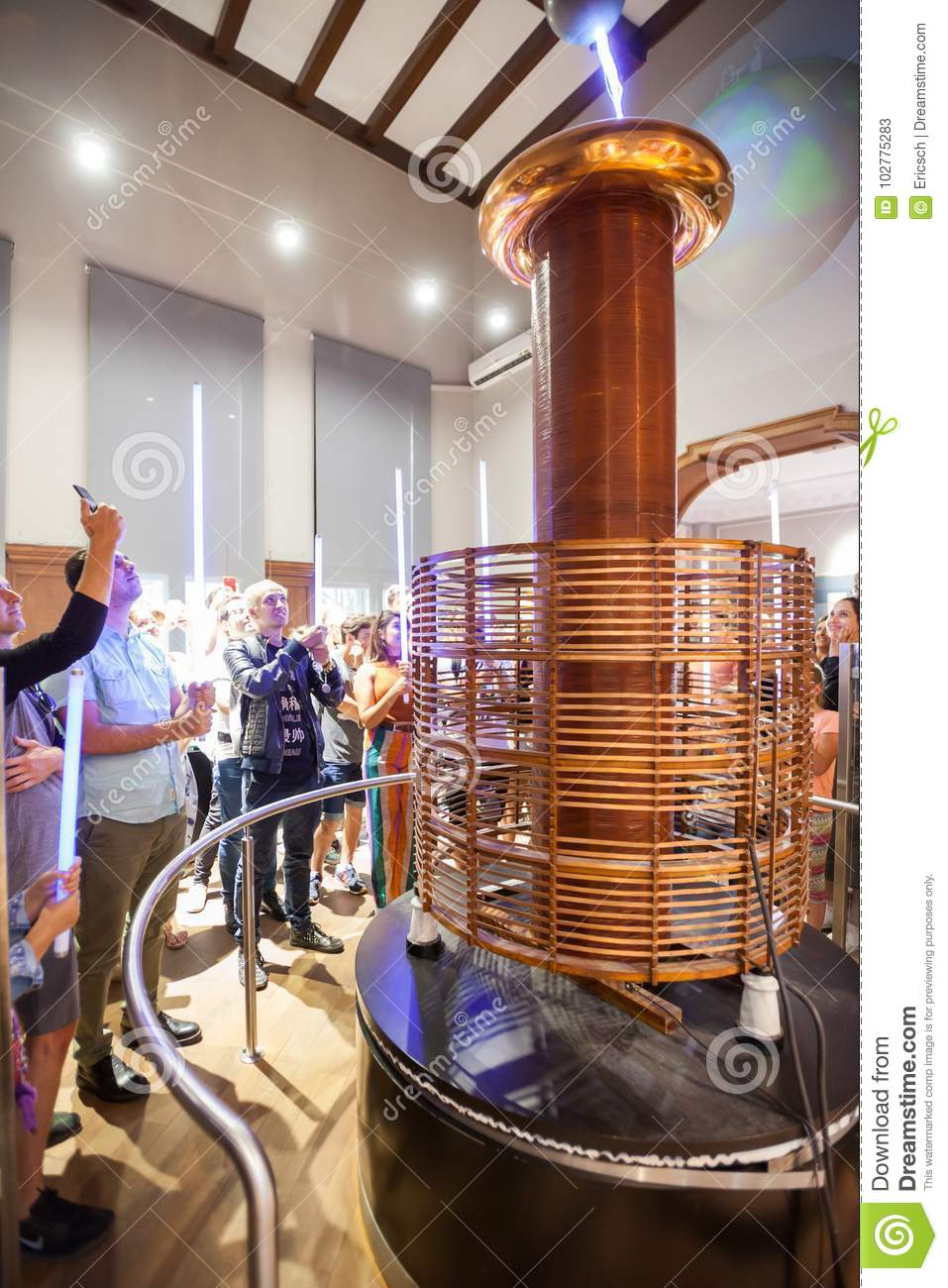 Nikola Tesla Museum Belgrade Serbia Editorial Stock Photo Image Free Electricity Coil 5 Sept Tourists Take Part In A Demonstration At The On 2017