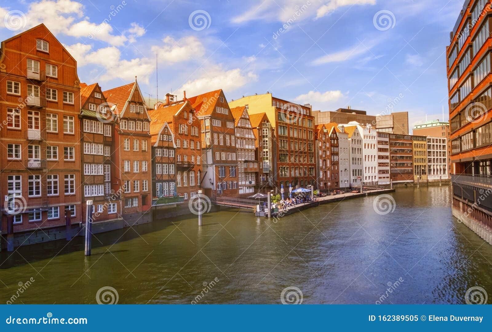 Nikolaifleet canal in the Altstadt of Hamburg, Germany