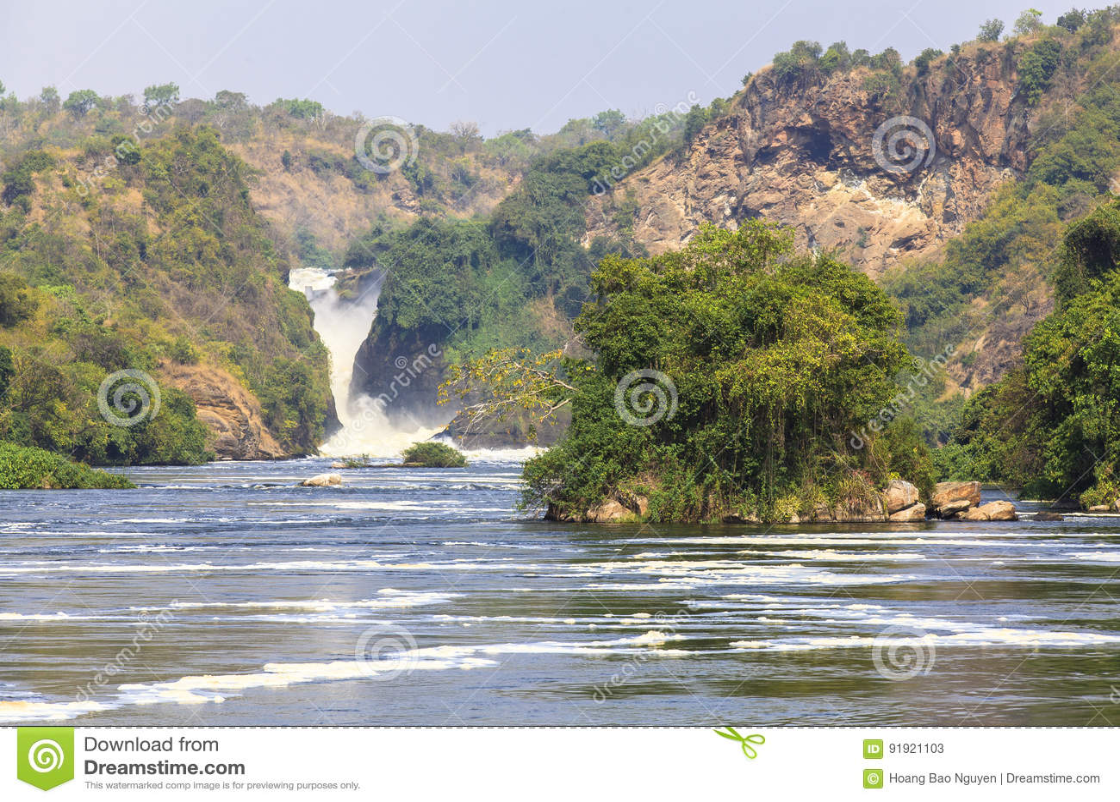 Nil rzeka przy Murchison Spada park narodowy, Uganda