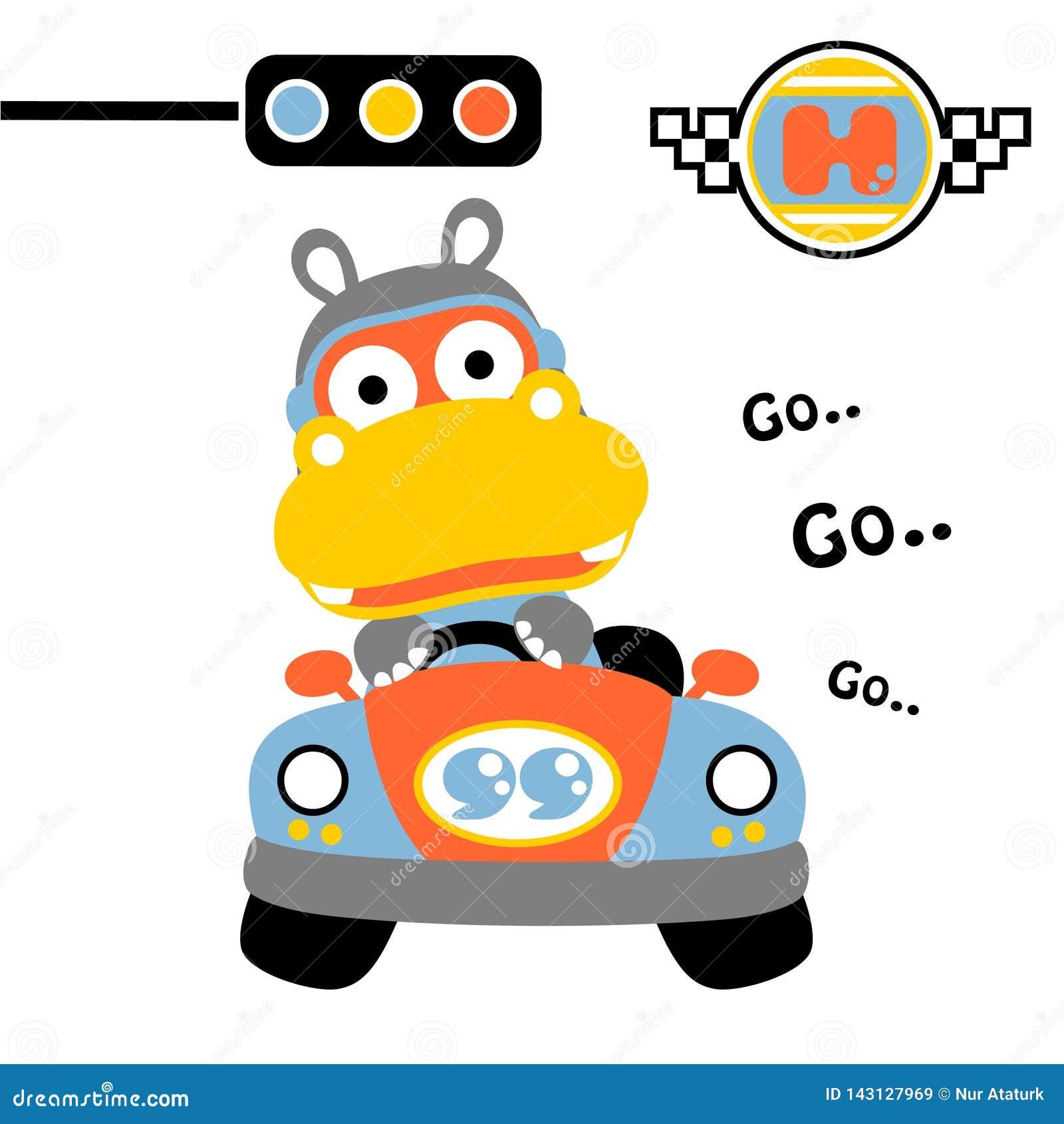 Nilpferd auf dem Auto, Vektorkarikaturillustration