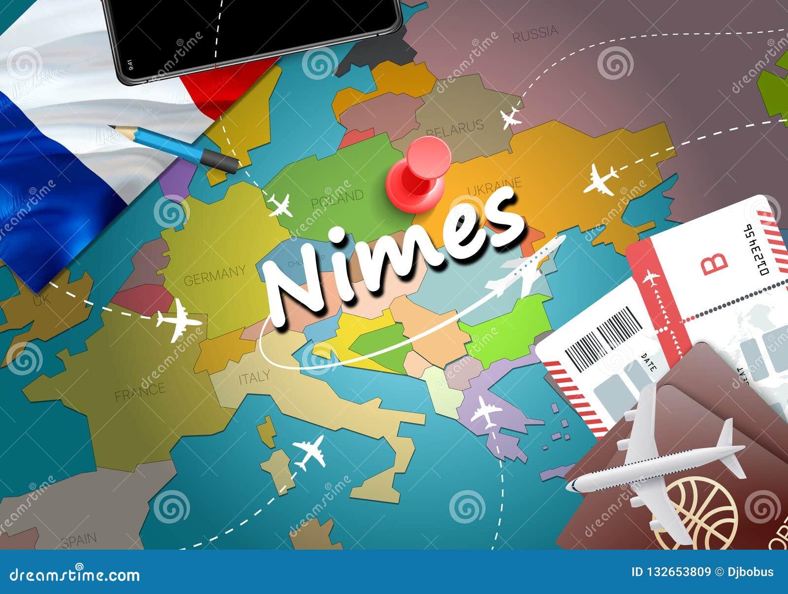 Nimes City Travel And Tourism Destination Concept France Flag A