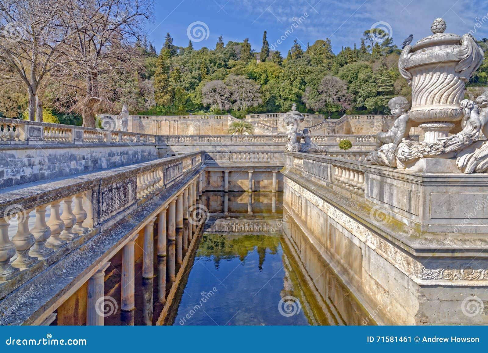 Nimes, The Fountain Gardens Stock Photo