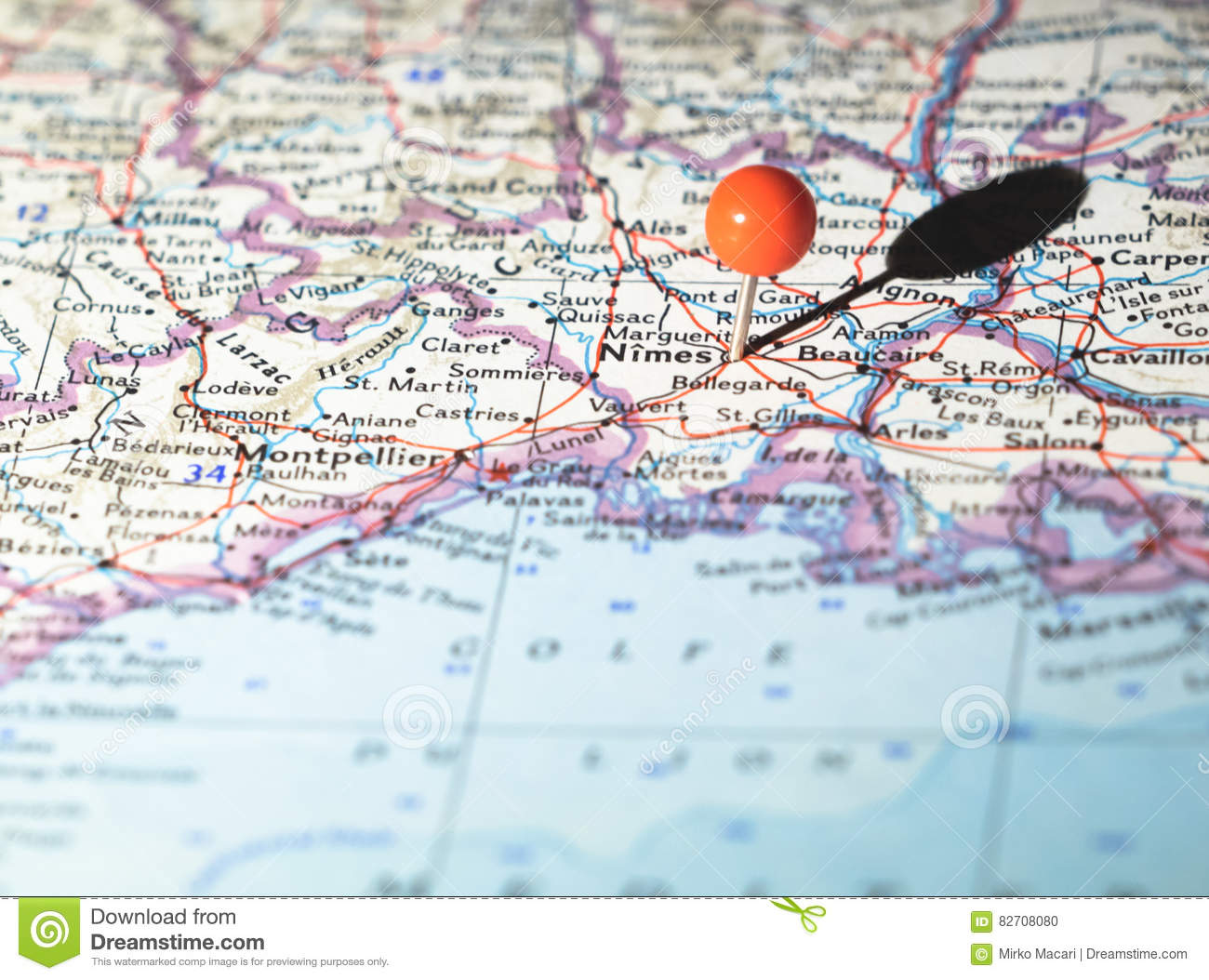 Nimes France Location Pinned On The Route Map Stock Photo Image Of