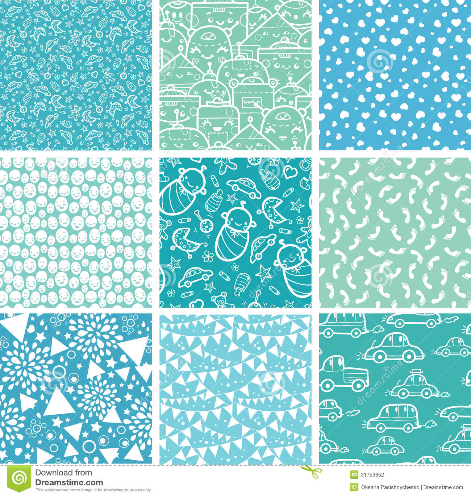 Nine Baby Boy Blue Seamless Patterns Backgrounds Stock