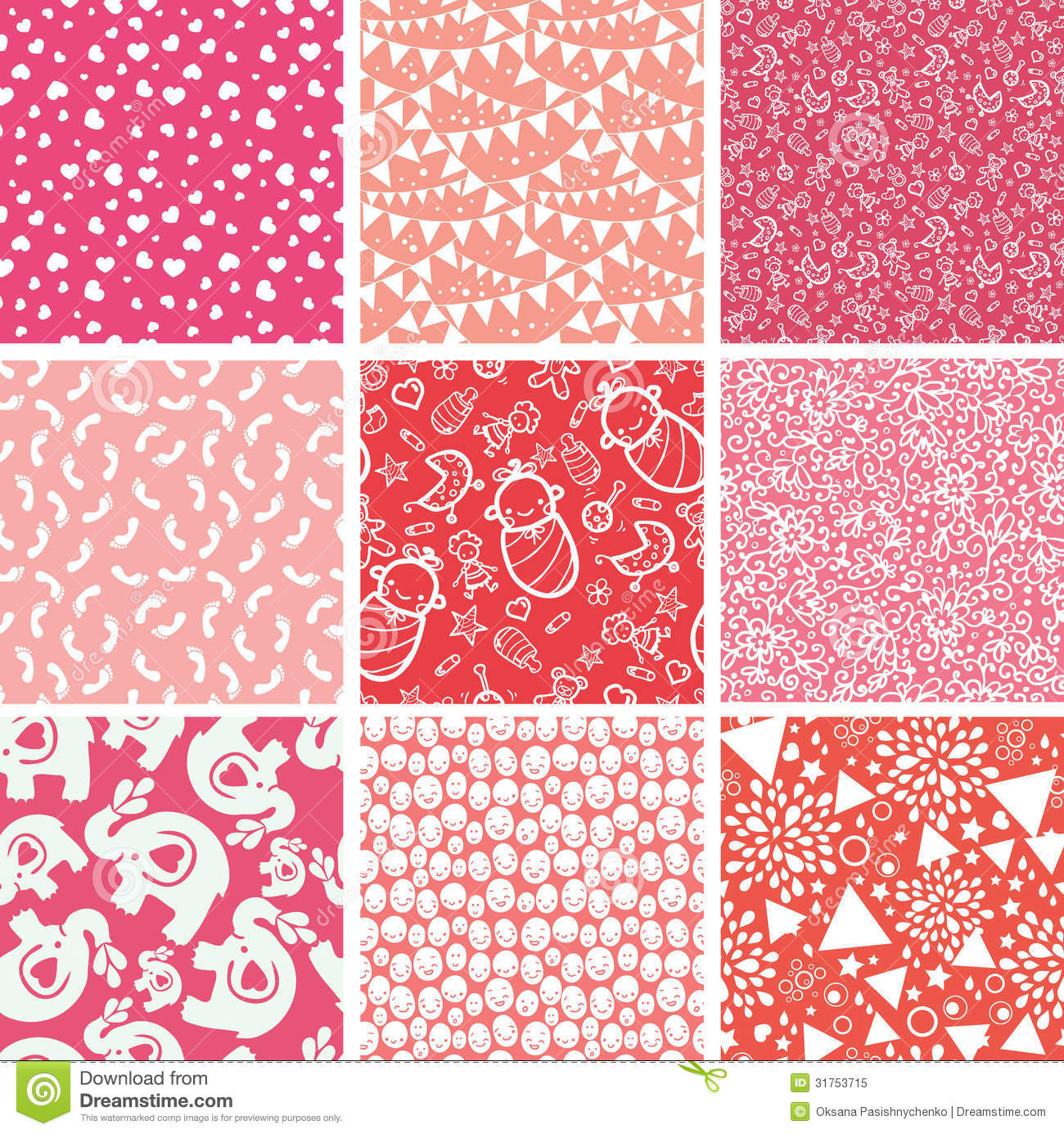 Nine Baby Girl Pink Seamless Patterns Backgrounds Royalty ...