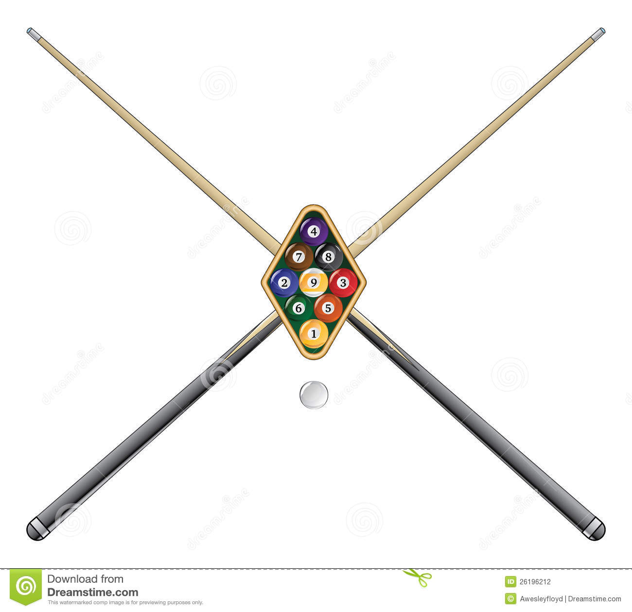 Nine Ball With Cue Sticks Stock Vector Illustration Of