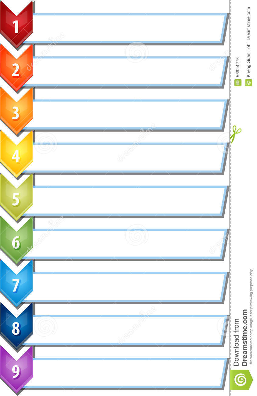 Nine Blank Business Diagram Chevron List Illustration