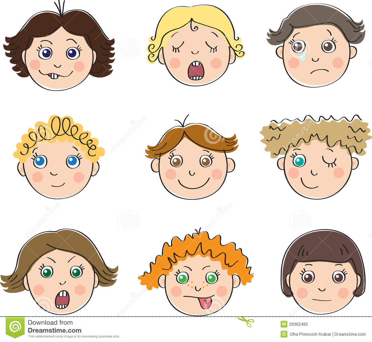 Nine Childrens Faces With Different Moods Stock Vector