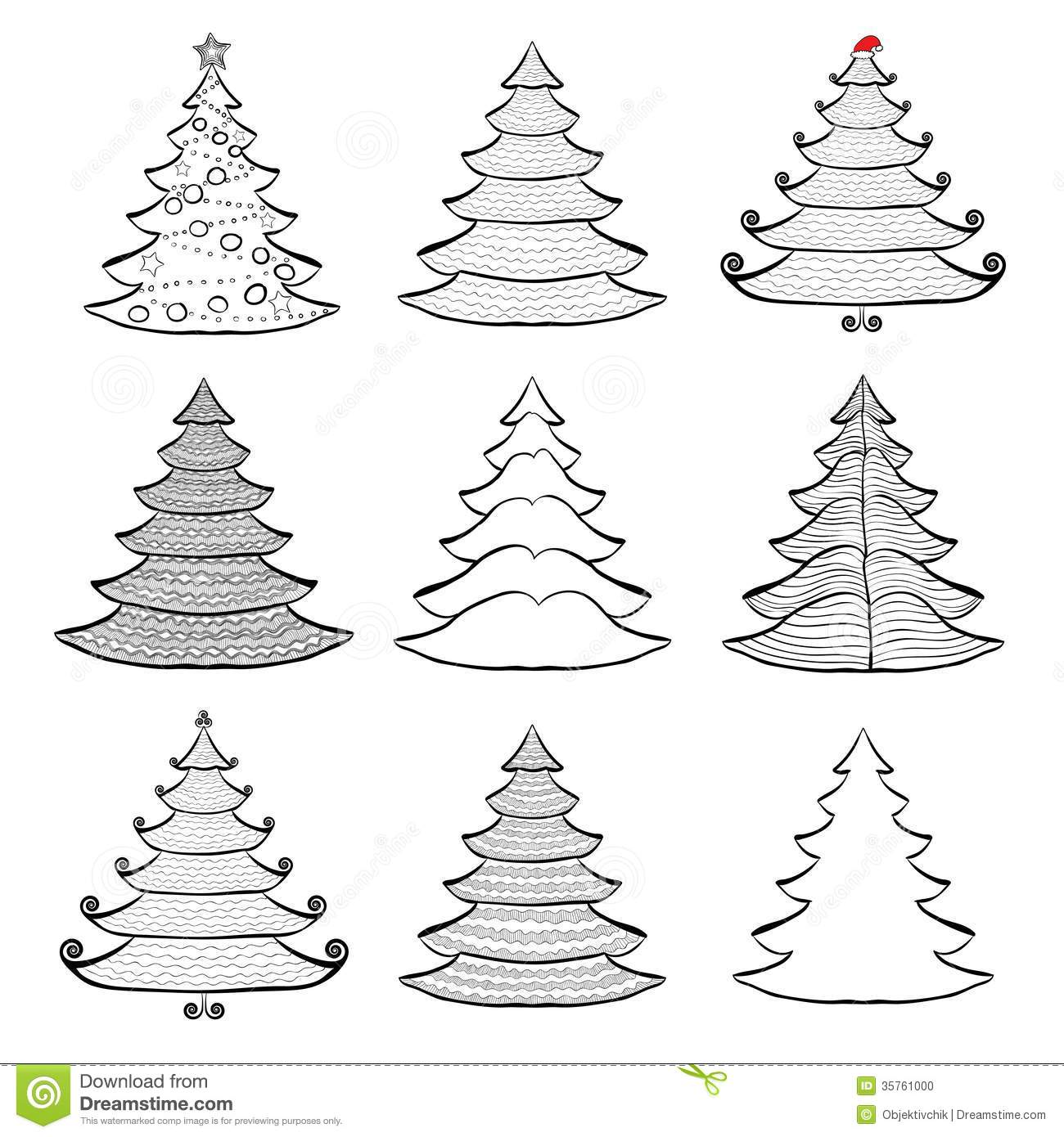 Christmas tree drawing black and white - Nine Christmas Trees Set Black On White Stock Photo