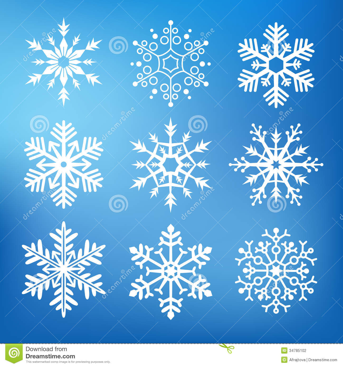 Nine Cute Snowflakes Stock Photography Image 34785102