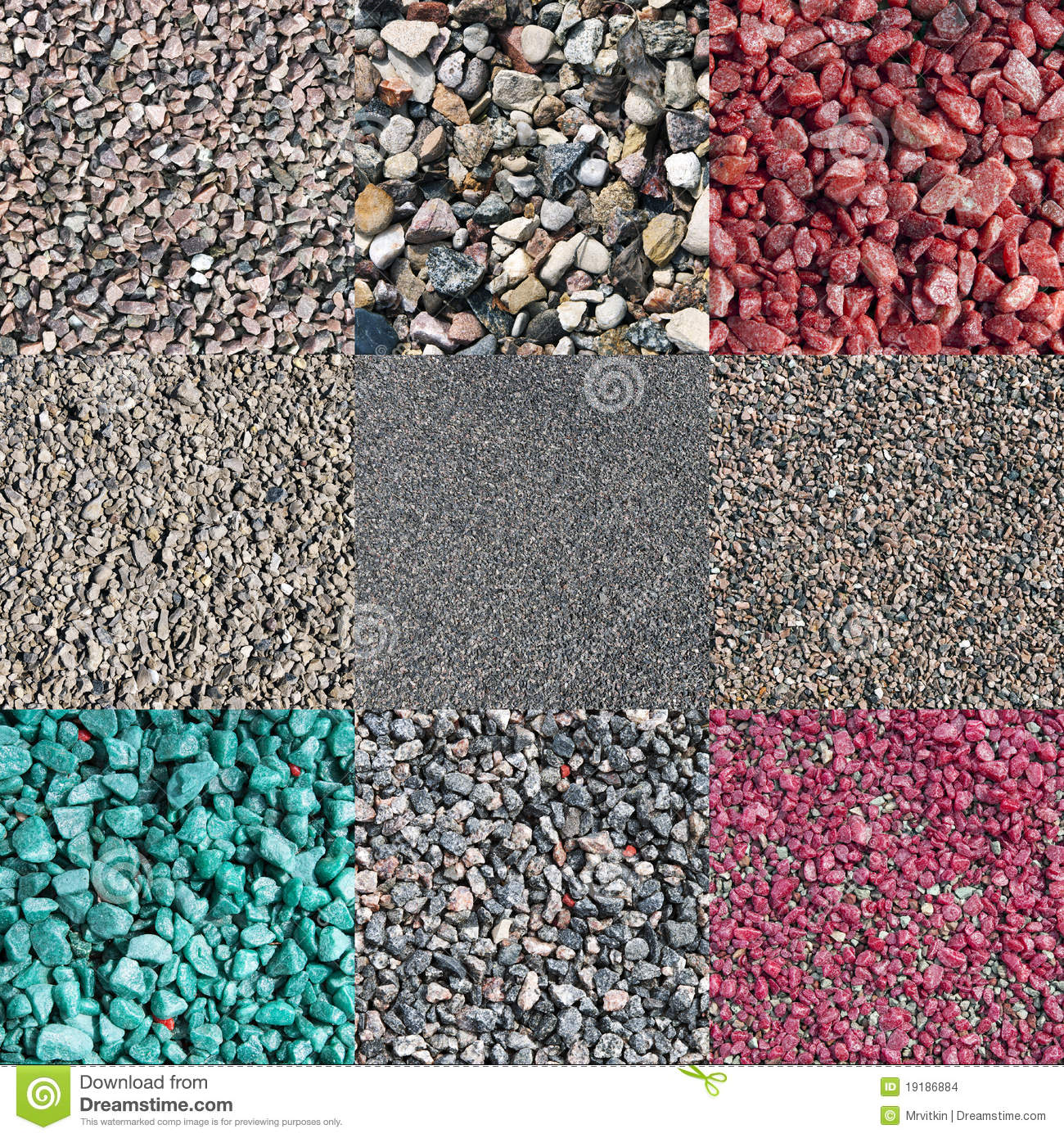 Pink Crushed Stone : Nine different colored and natural crushed stones stock
