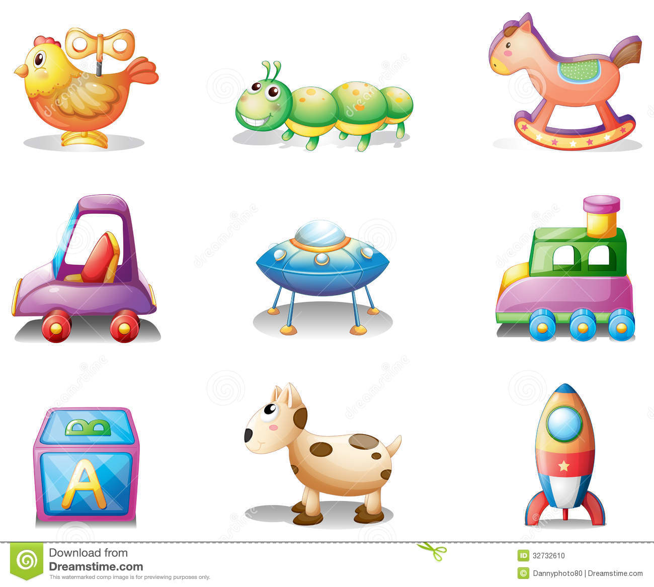 Toys For 9 : Nine different toys for children stock vector