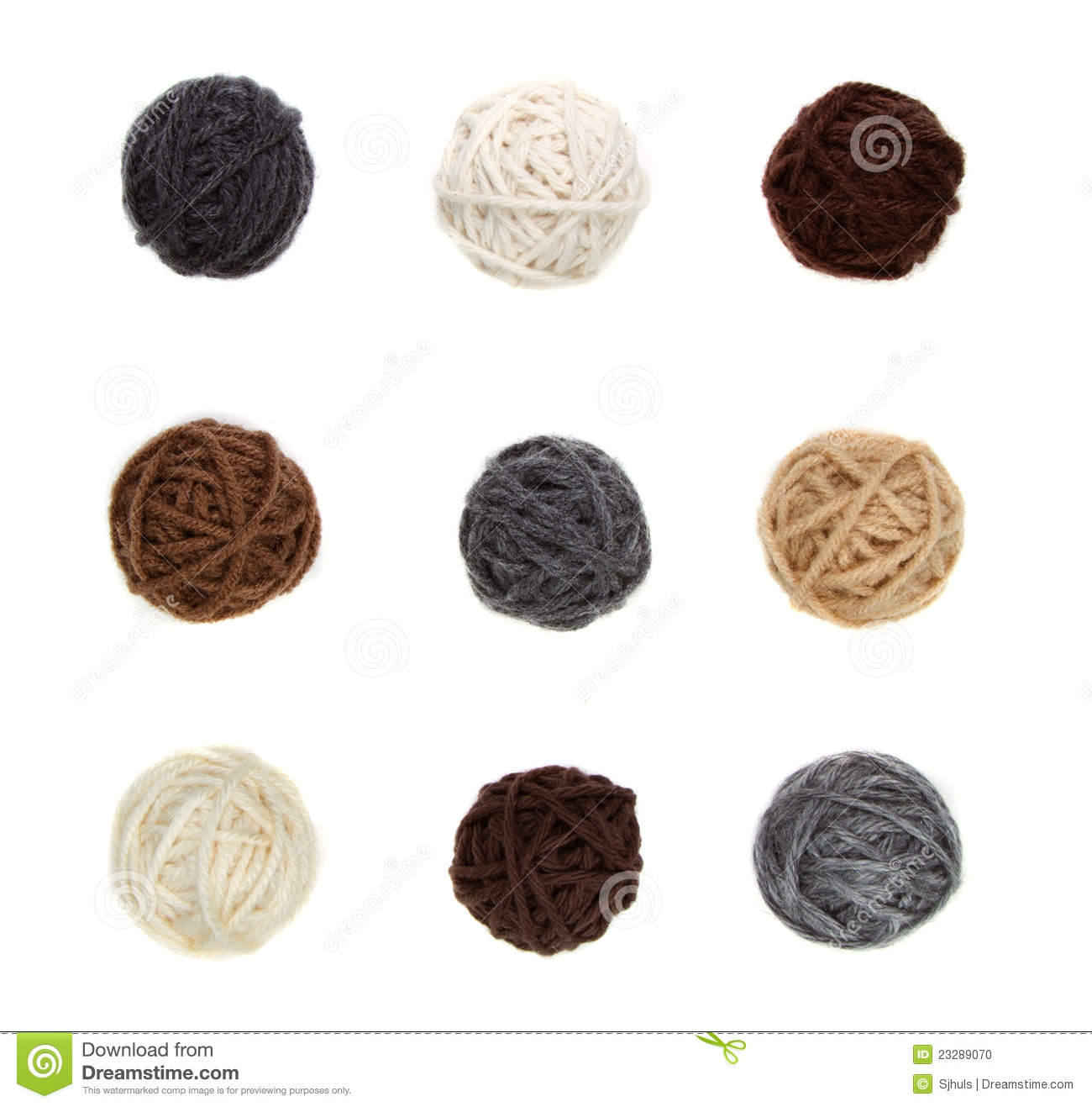 Nine differnt balls of yarn in neutral colors stock photo for What are neutral colors