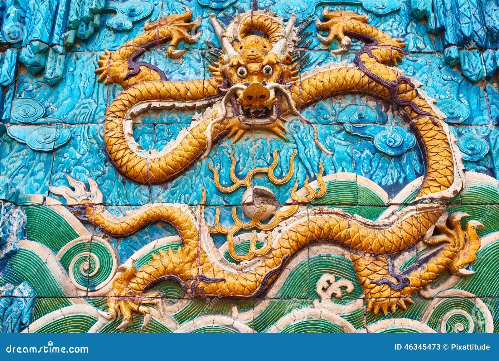 Nine Dragon Wall: Nine Dragon Wall Forbidden City Beijing China Stock Image