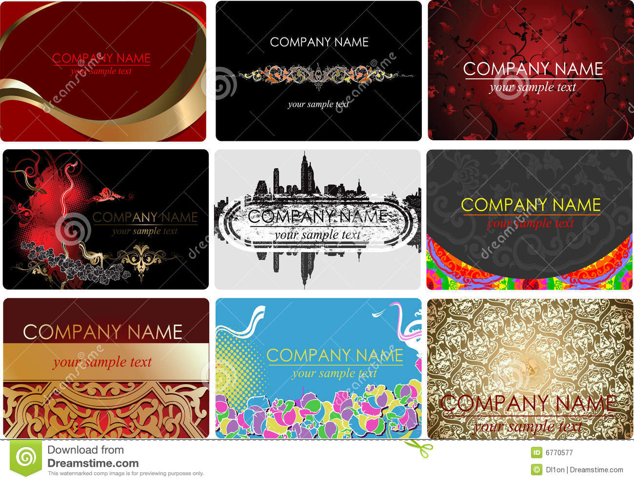 Nine Glamour Fashion Business Cards Stock Vector