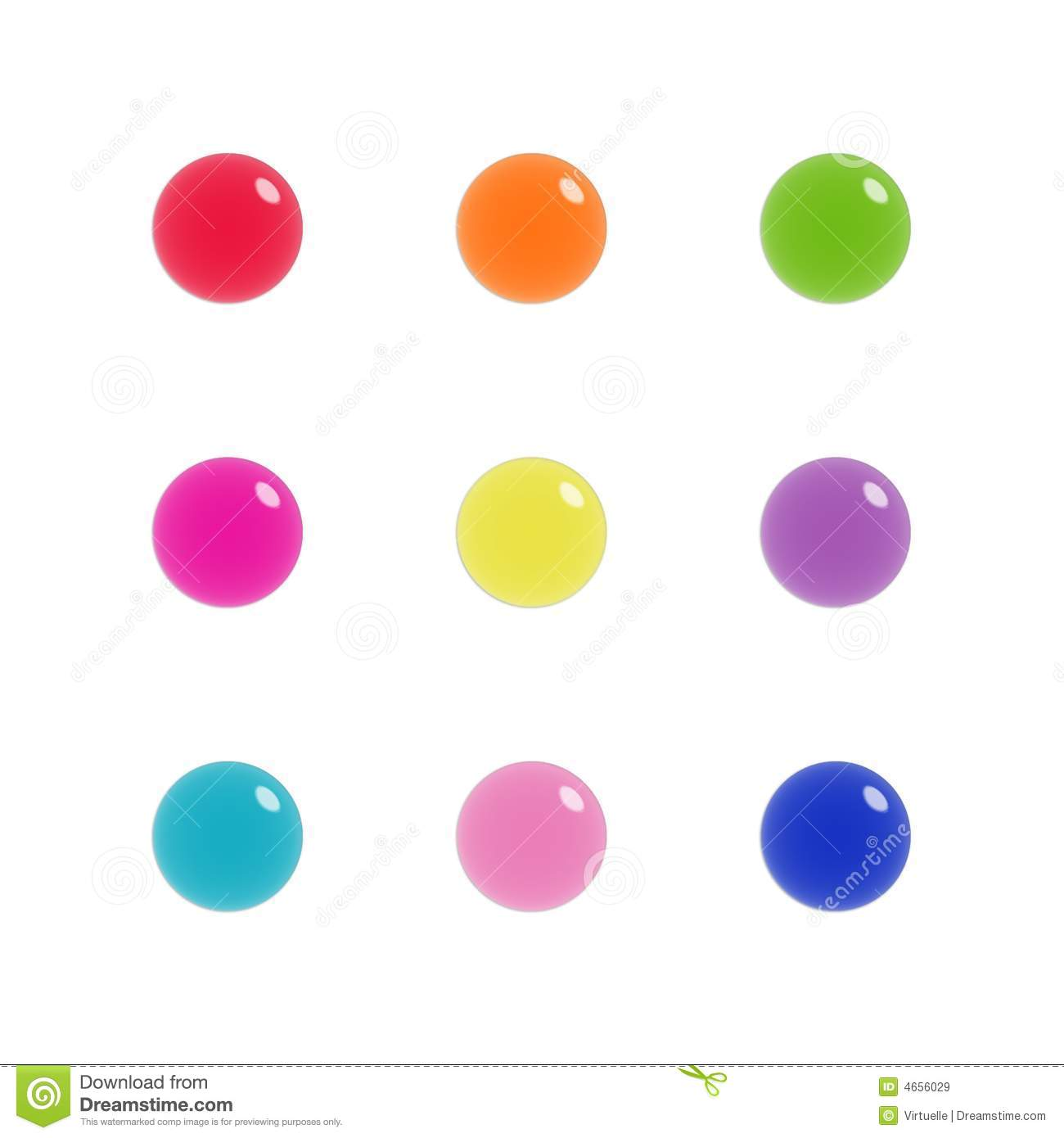 Nine Glass Orbs Of Glass In Bright Colours Royalty Free