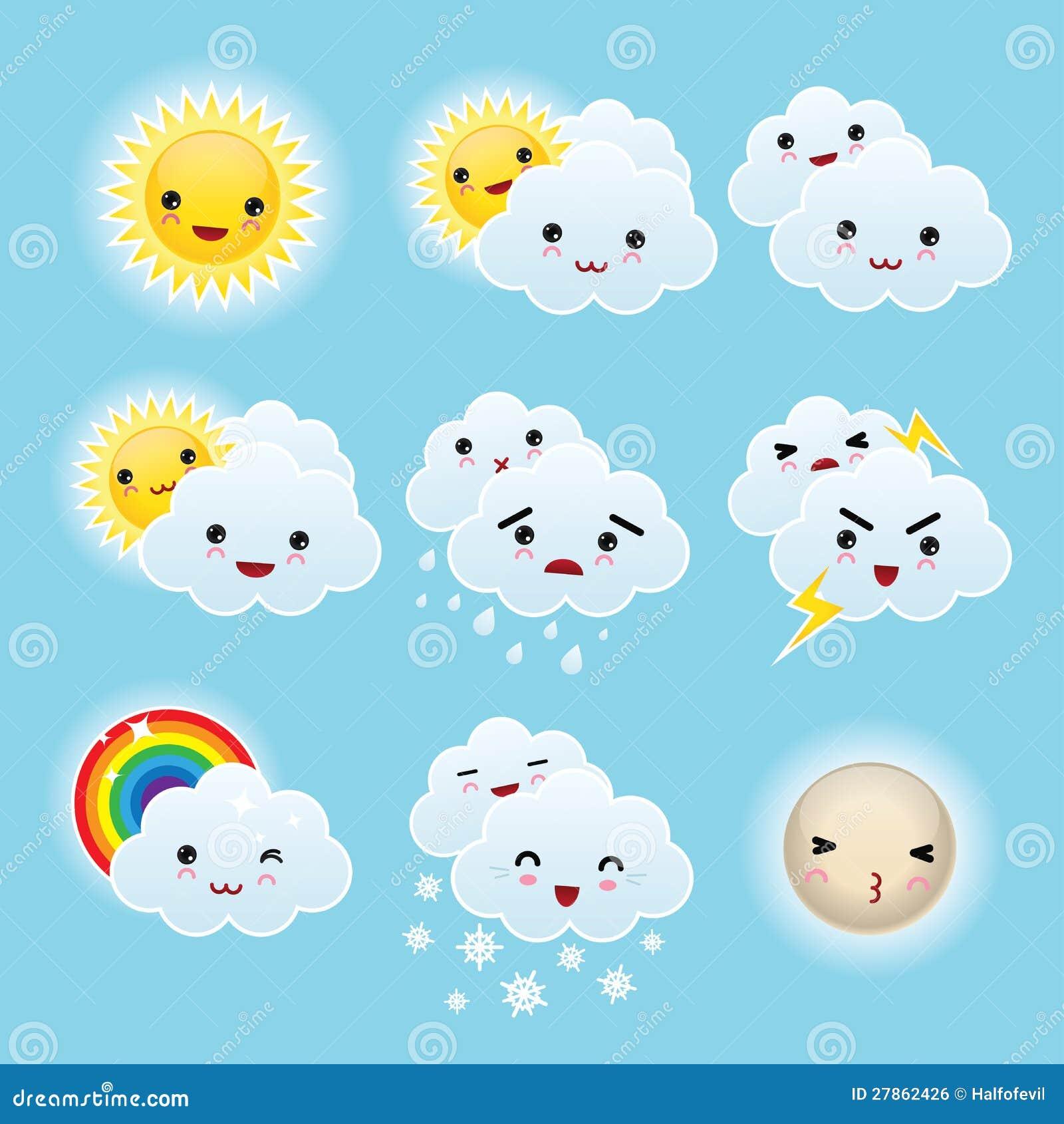 Nine Kid Kawaii Weather Icons Royalty Free Stock Image