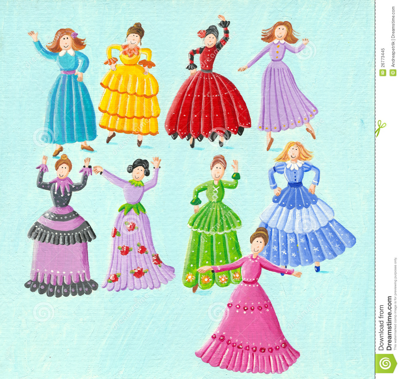 Nine ladies dancing stock illustration. Illustration of performing ...