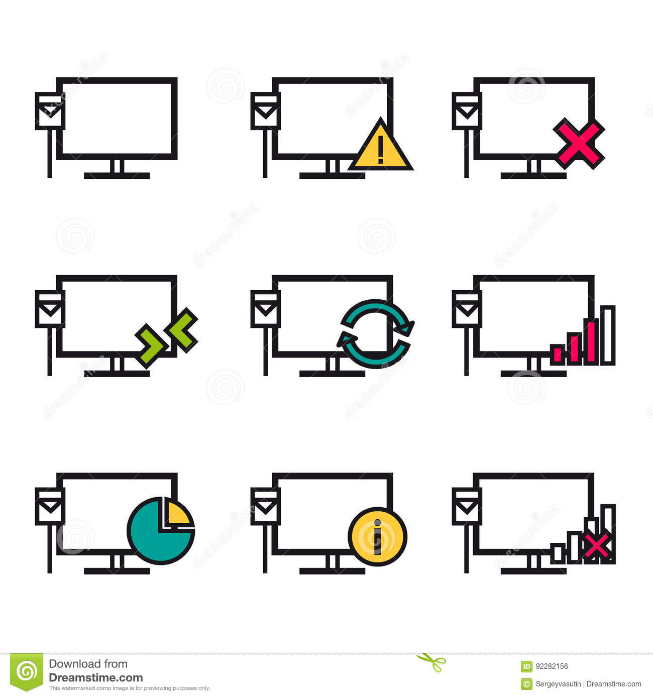 computer and network connections icons set vector illustration  cartoon vector