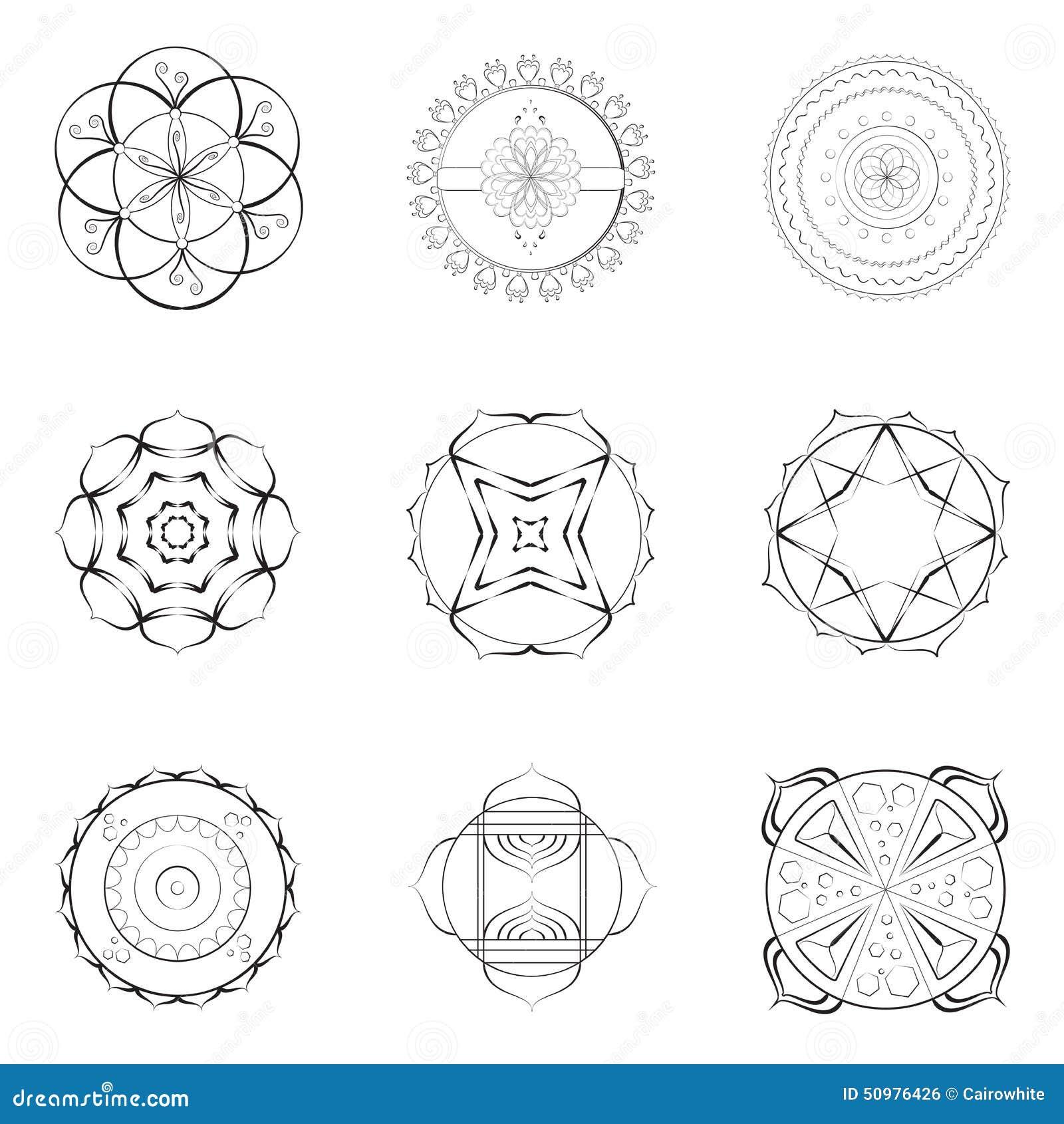 Nine Mandalas Outline Designs Stock Illustration Image