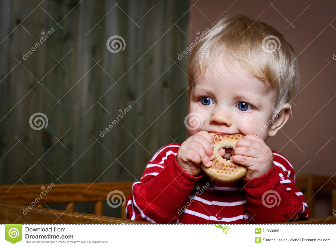 Nine Month Old Baby Boy Eat Biscuit Stock Image Image Of