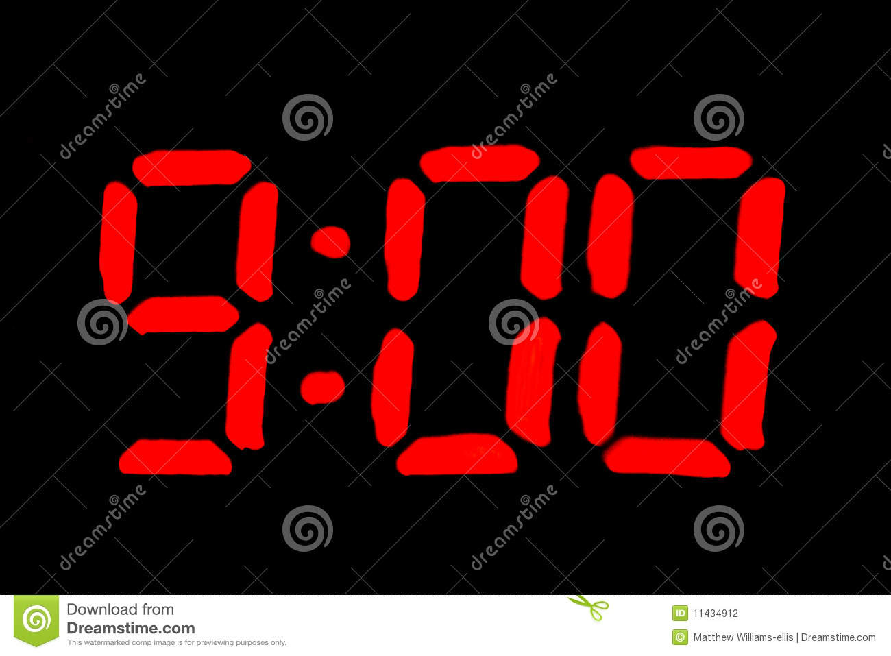 nine o clock in digital format on black stock photography wake up clipart black and white boy waking up clipart