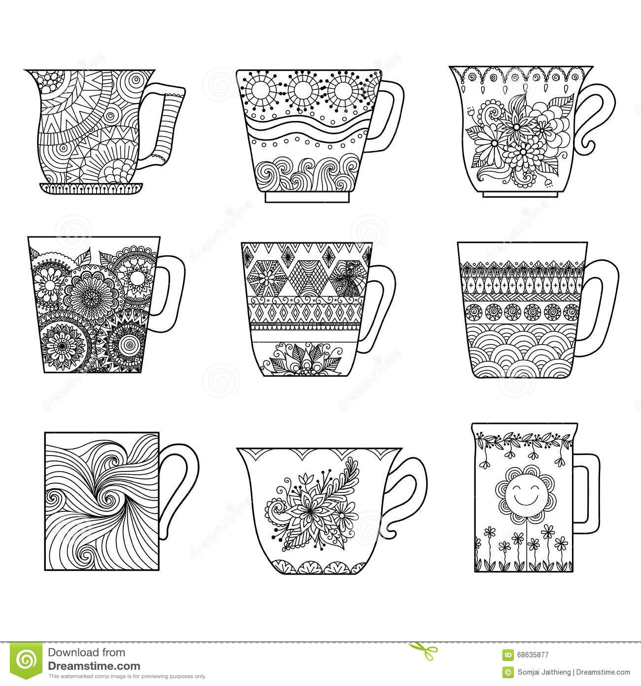 Nine Tea Cups Line Art Design For Coloring Book Anti Stress
