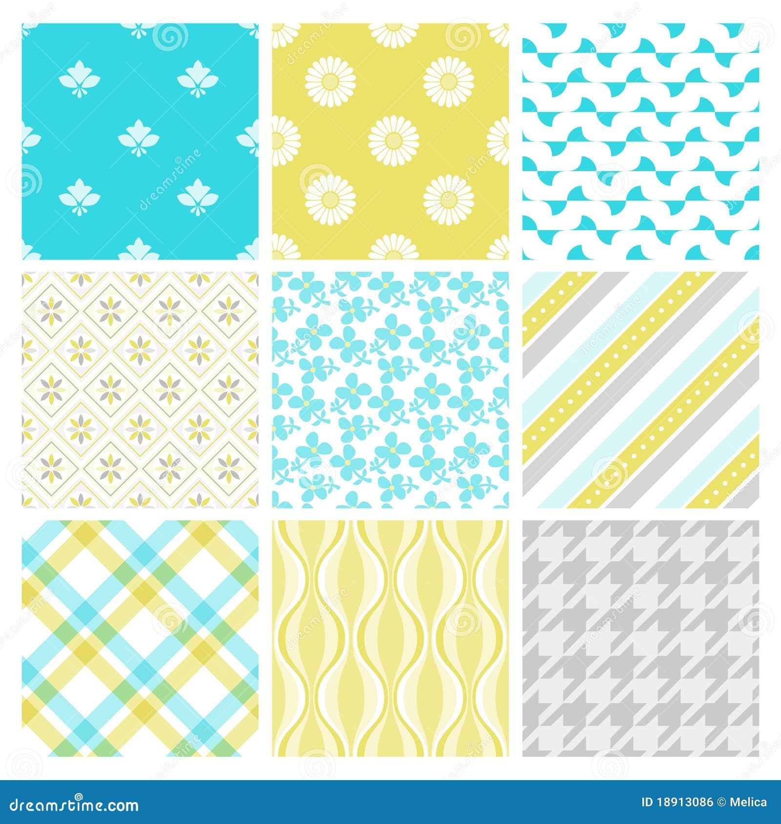 Nine trendy textile or wallpaper pattern