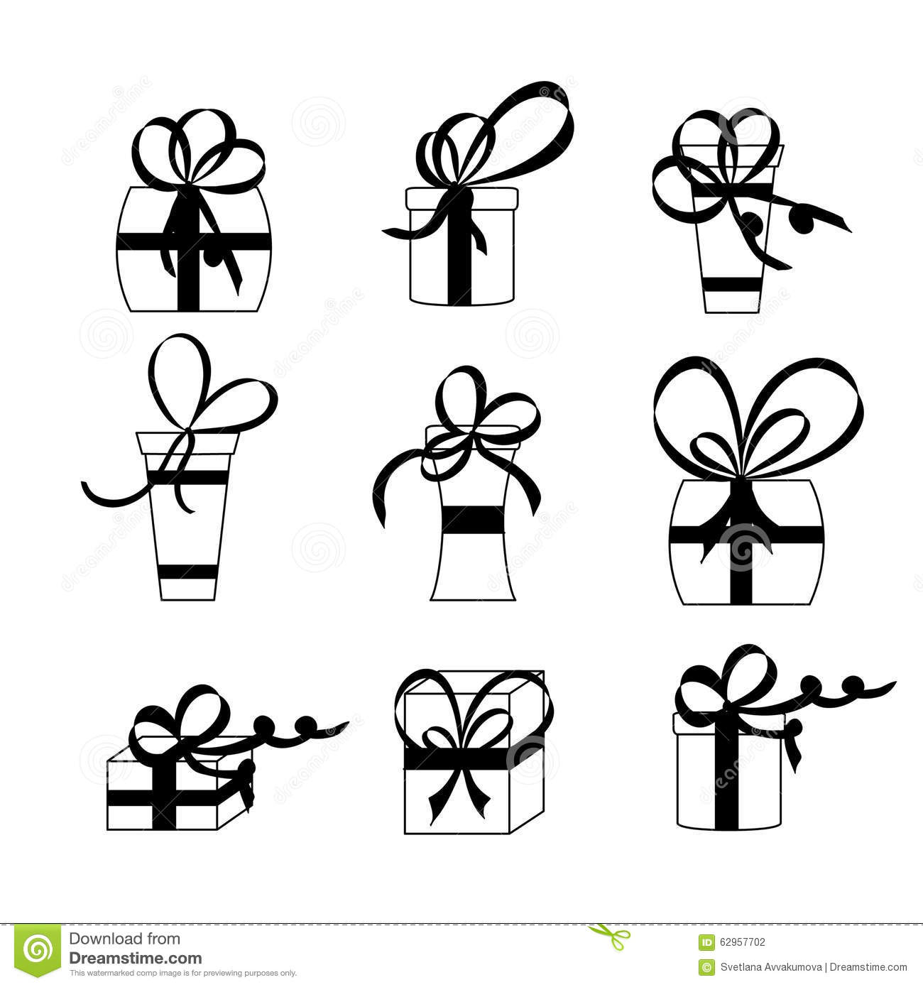 Nine White Gift Boxes Black Bows And Ribbons Stock Vector