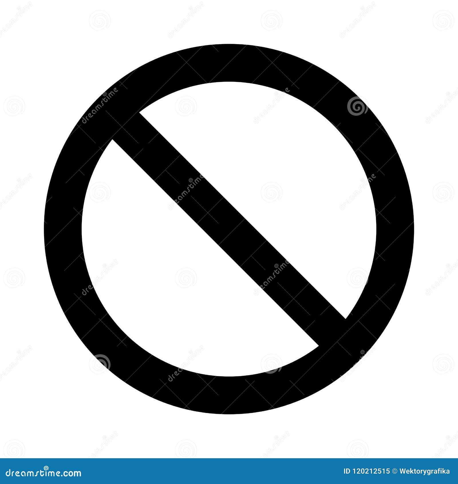 Ninguna muestra, diseño del símbolo de la prohibición aislada en el fondo blanco