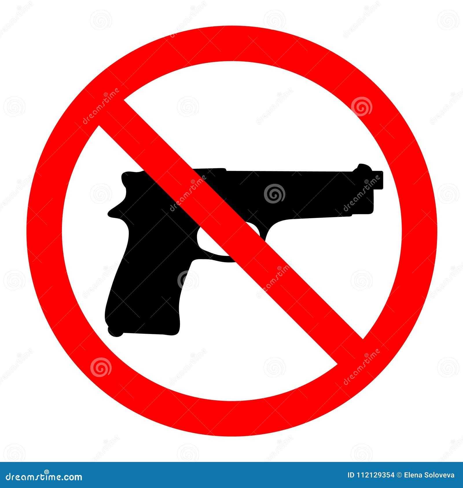 Ningunos armas, ningunas armas, muestra de la prohibición en el fondo blanco