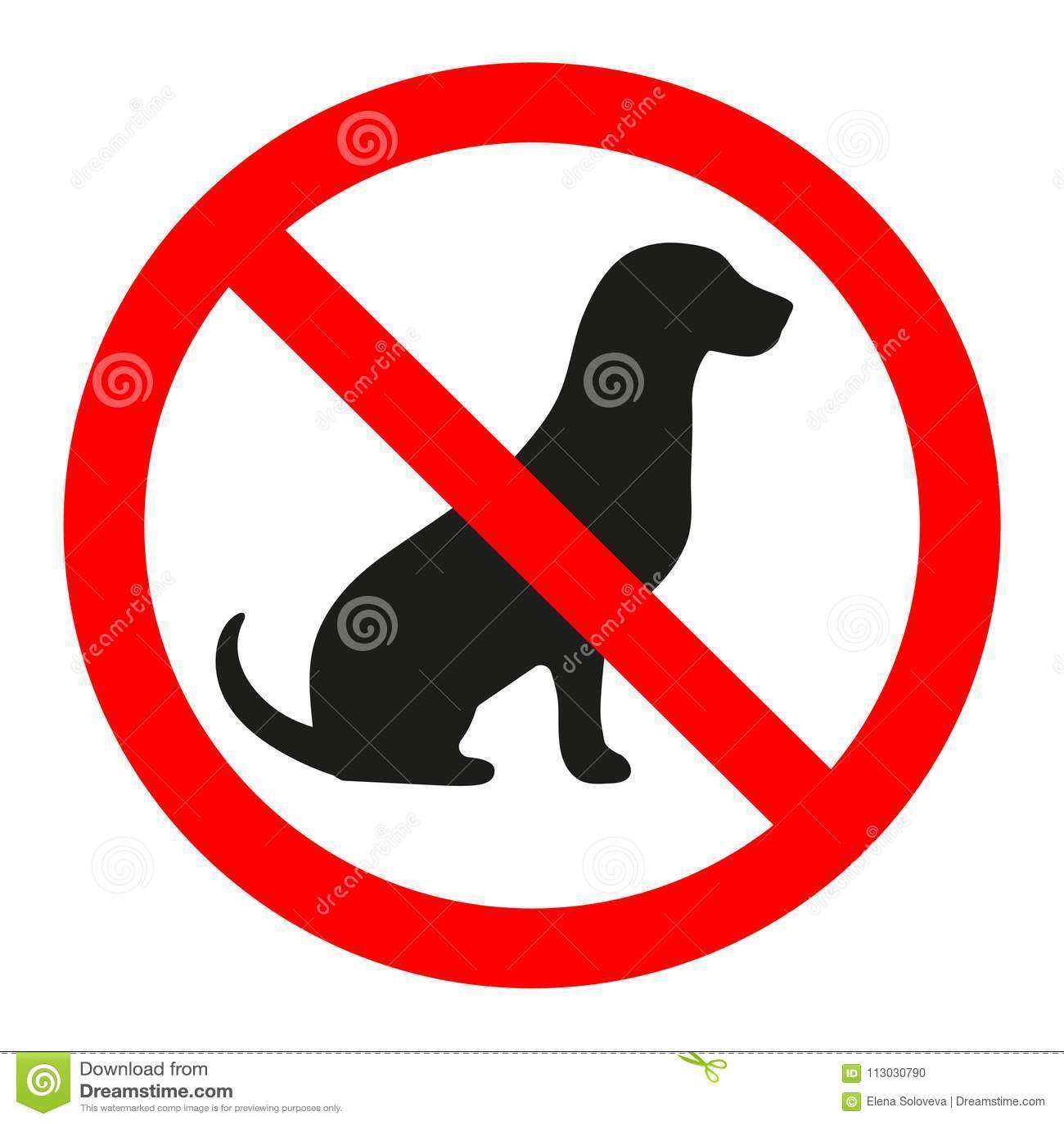 Ningunos perros permitidos Muestra de la prohibición del perro