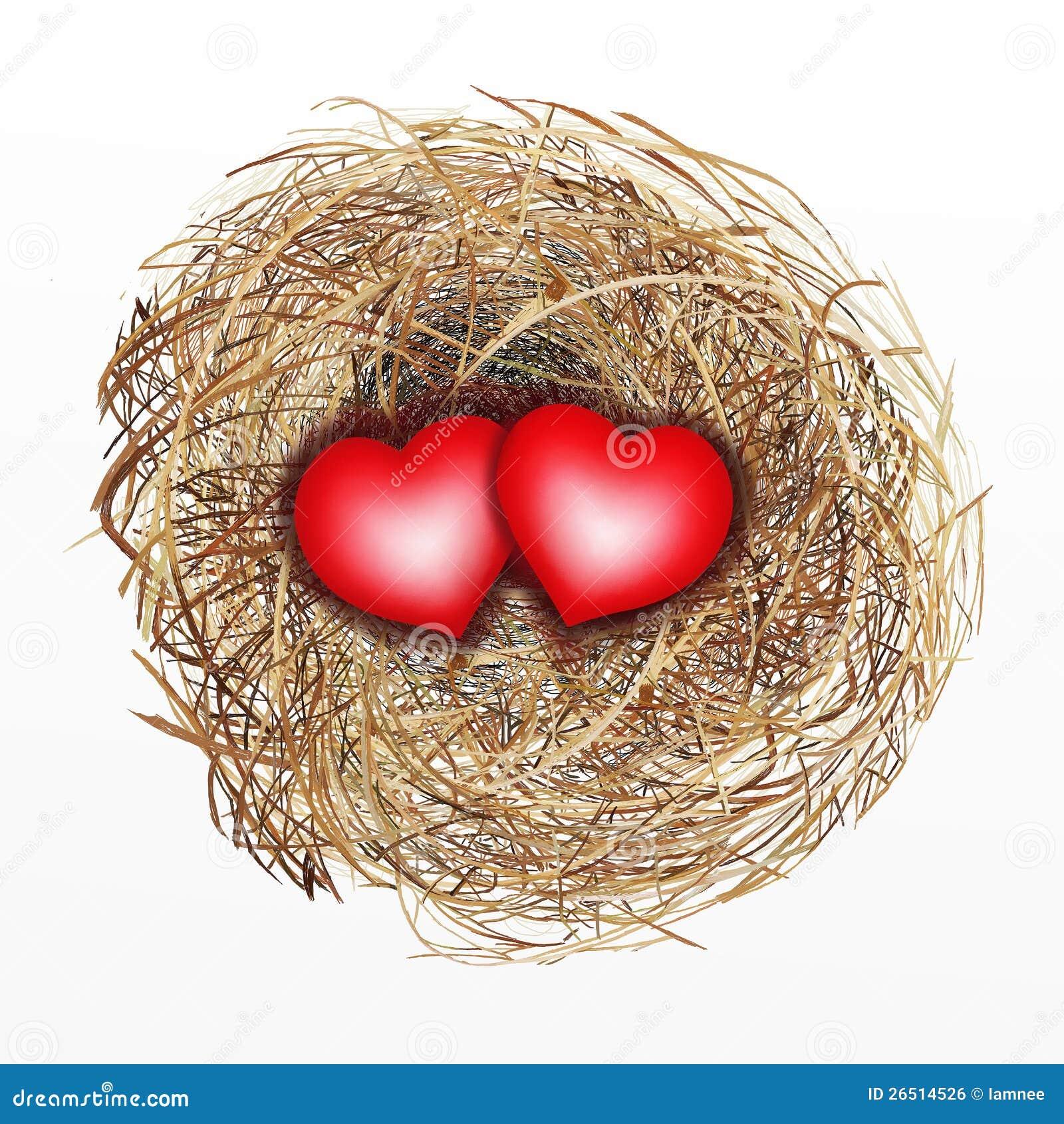 Ninho agradàvel construído do pássaro com coração de dois vermelhos