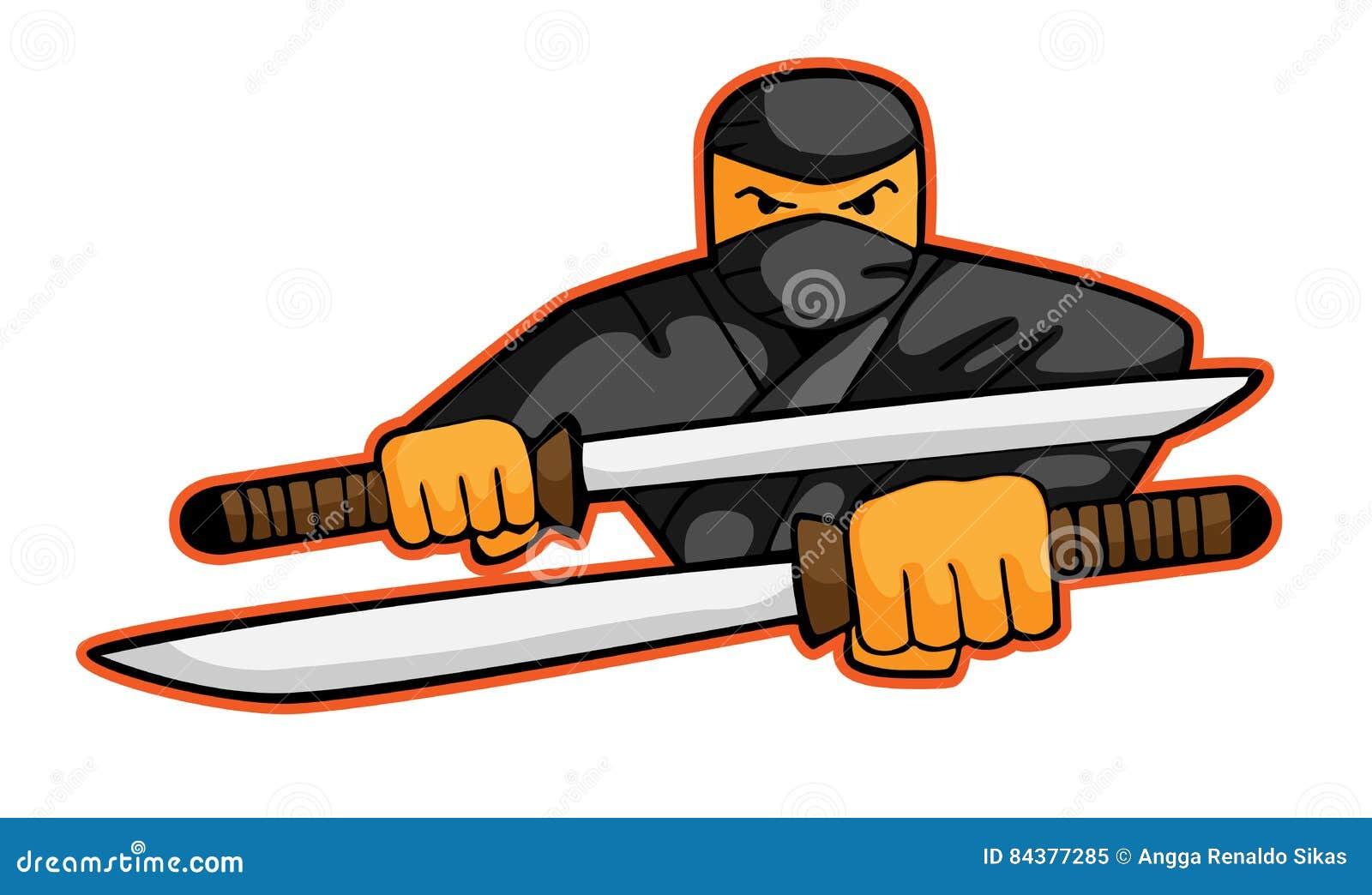 ninja attack com desenhos animados das espadas ilustra o