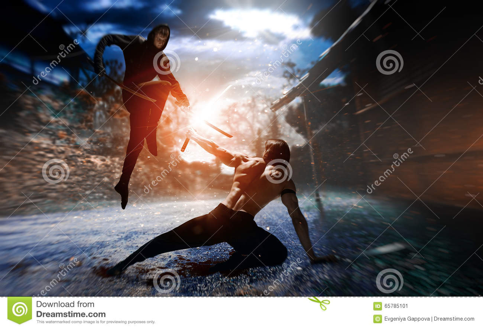 Ninja del combattente con la spada