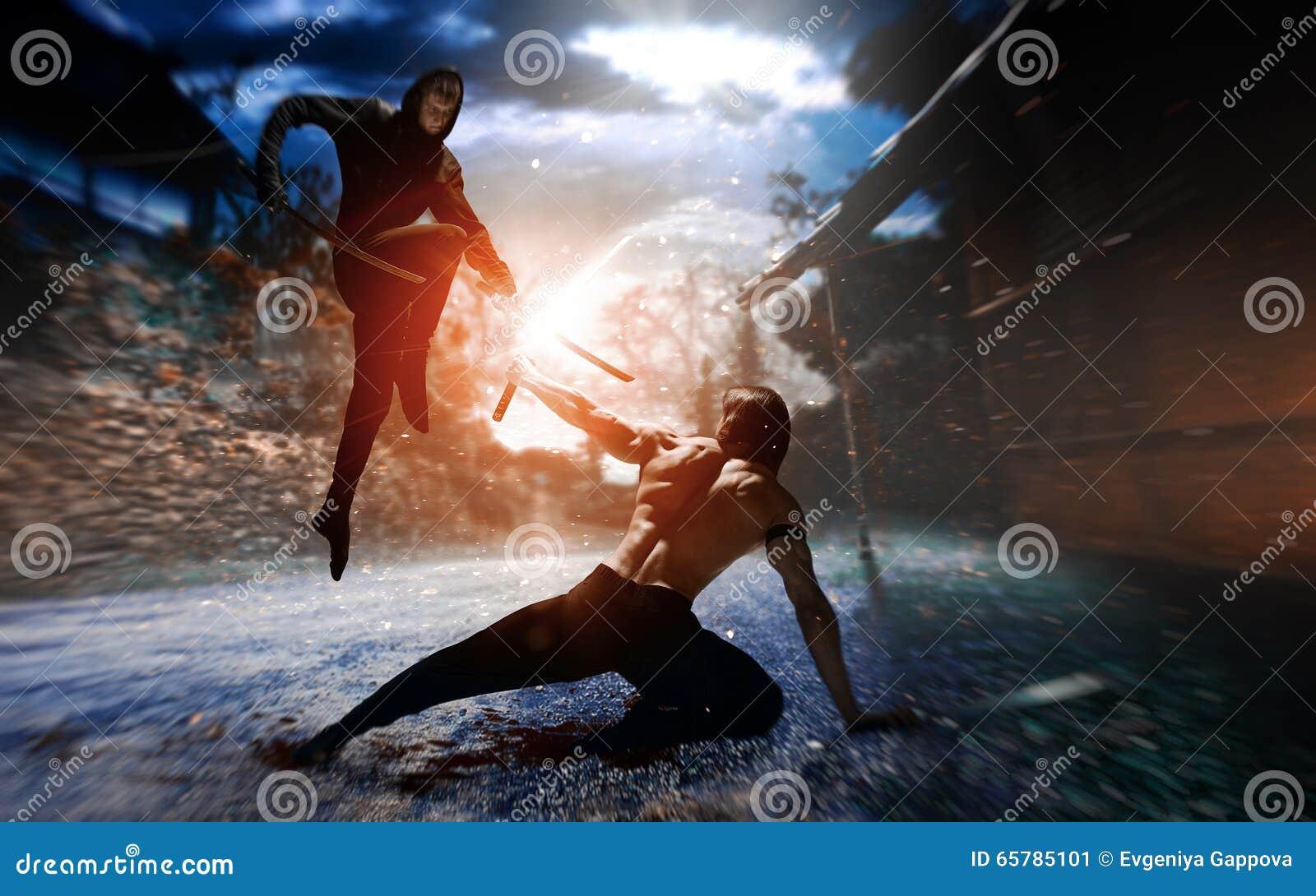 Ninja do lutador com espada