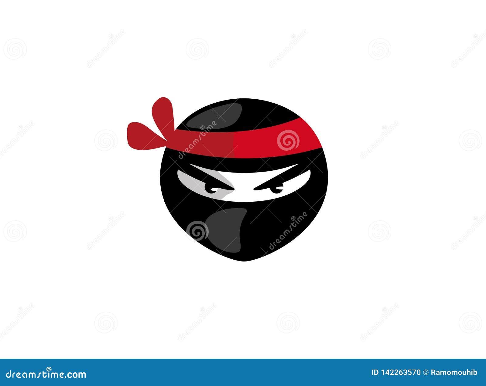 Ninja głowa z gniewną twarzą dla logo projekta