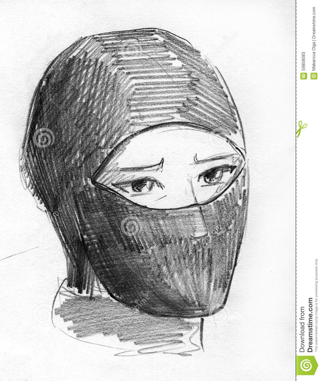 Hand drawn pencil sketch of a person wearing ninja mask