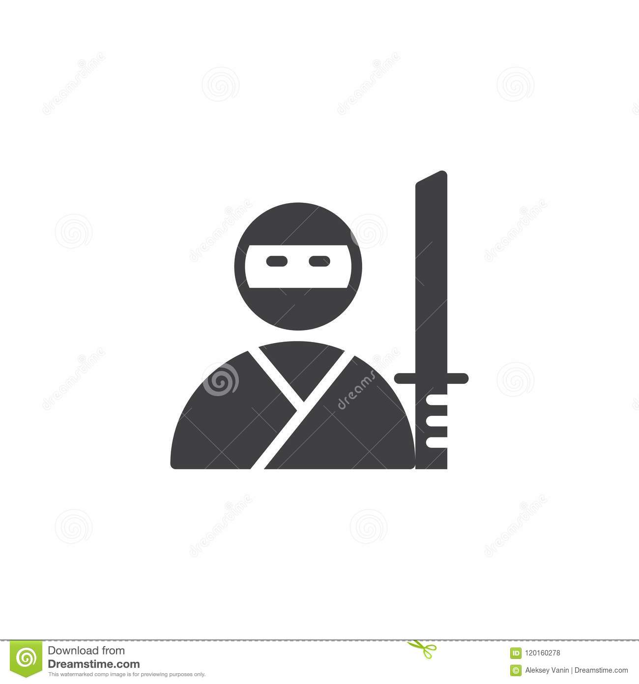 Ninja Samurai With Katana Vector Icon Stock Vector Illustration Of