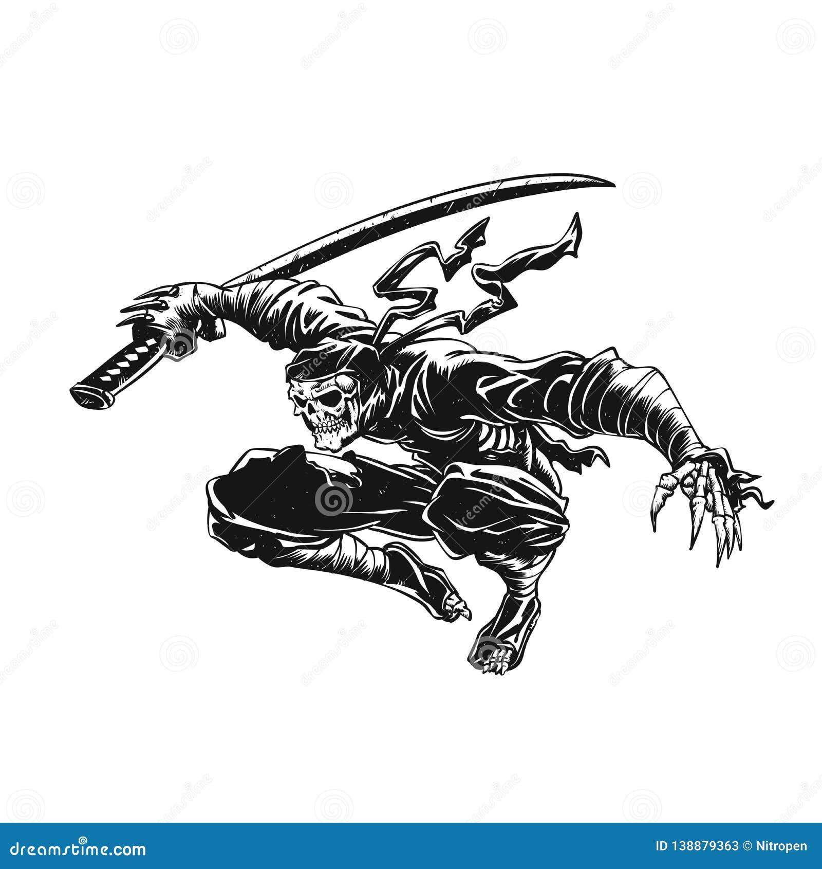 Ninja Skeleton Attacking , Skull Illustration , Stock Illustration