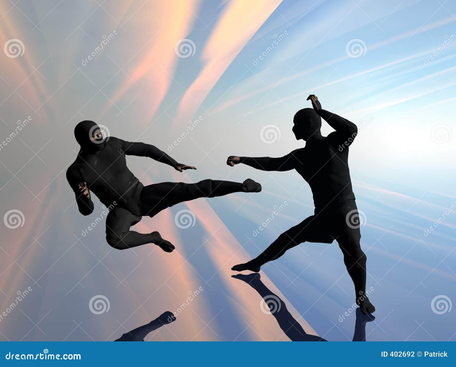 Ninja twee in strijd.