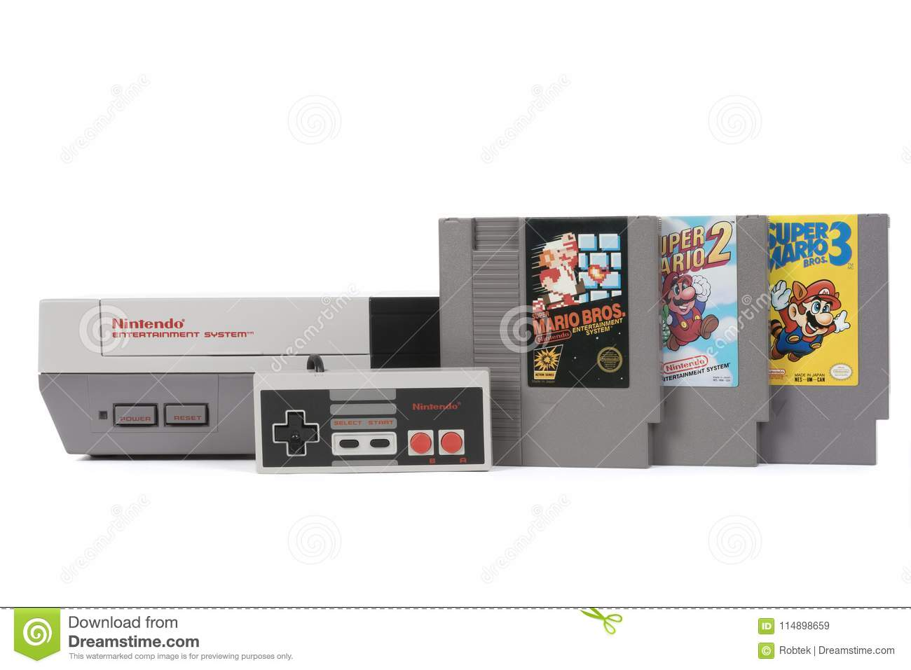 The Nintendo Entertainment System And Super Mario Bros Games Editorial Stock Image Image Of Games Electronics 114898659