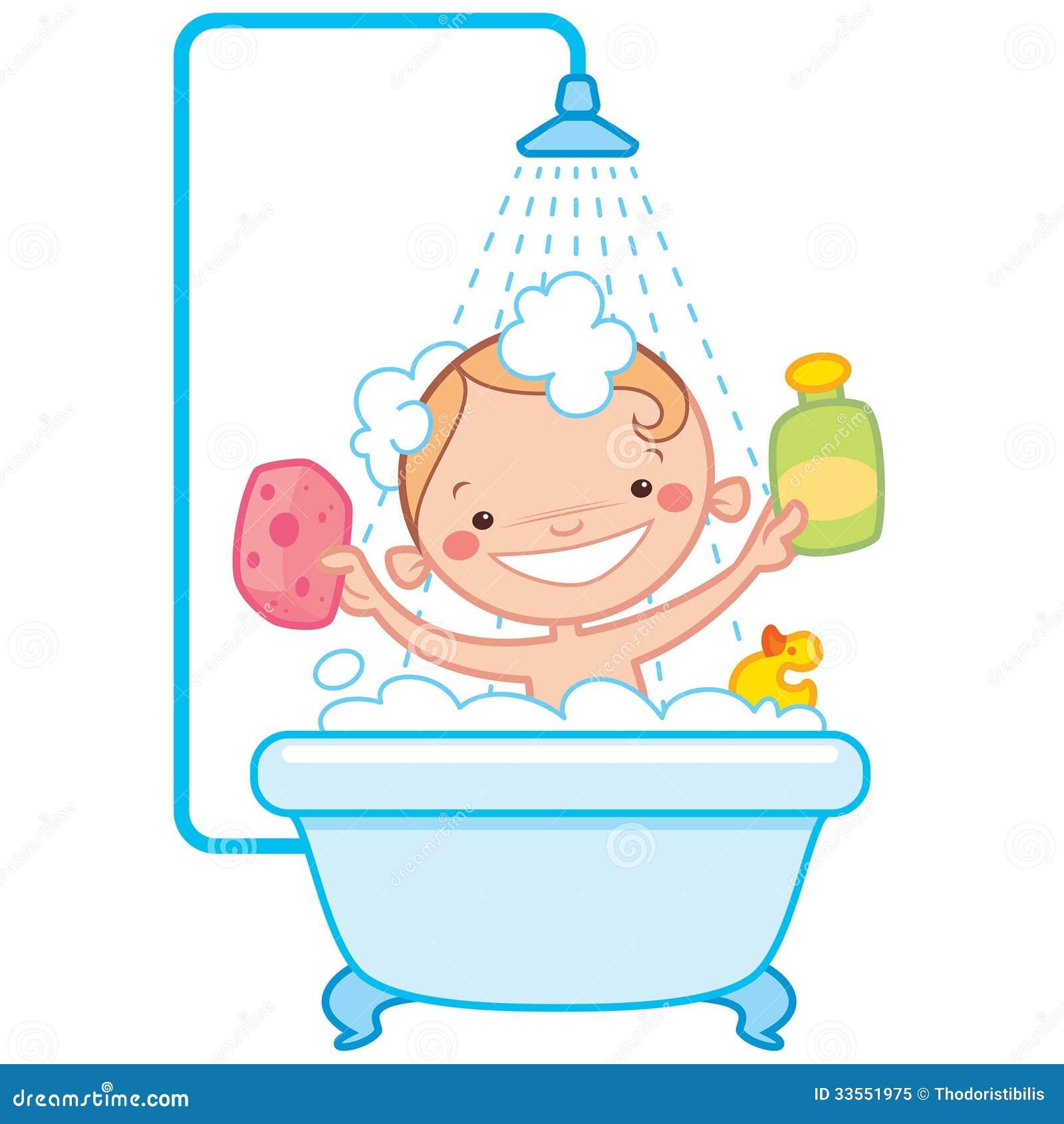 Baño En Tina Para Ninos:Del Bebé De La Historieta En Tina De Baño Foto de archivo libre de