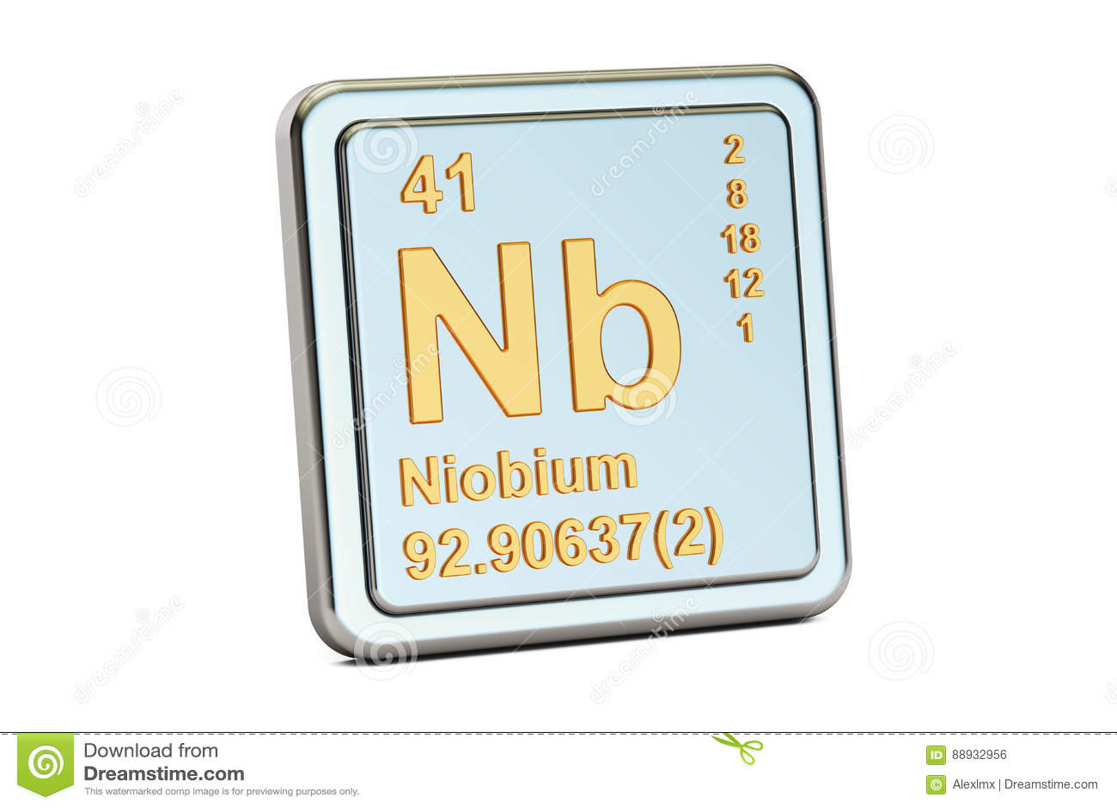 Niobium Nb Chemical Element Sign 3d Rendering Stock Photo Image