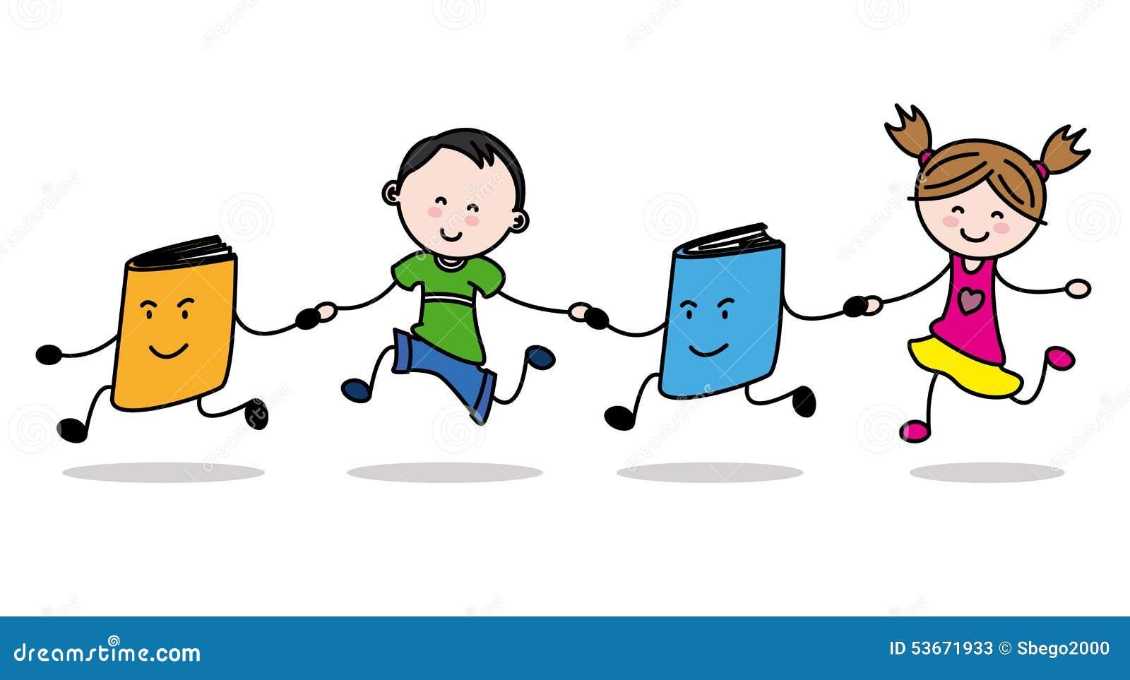 Niños Y Libros Ilustración del Vector - Imagen: 53671933
