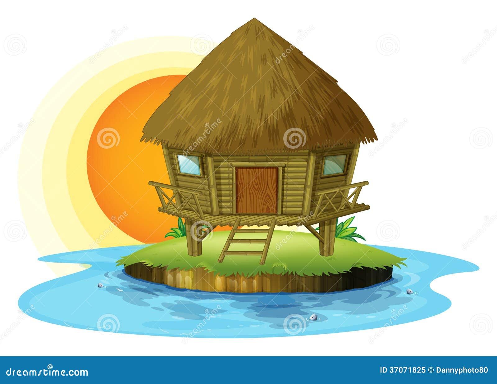 A Small Nipa Hut In An Island Stock Image Cartoondealer