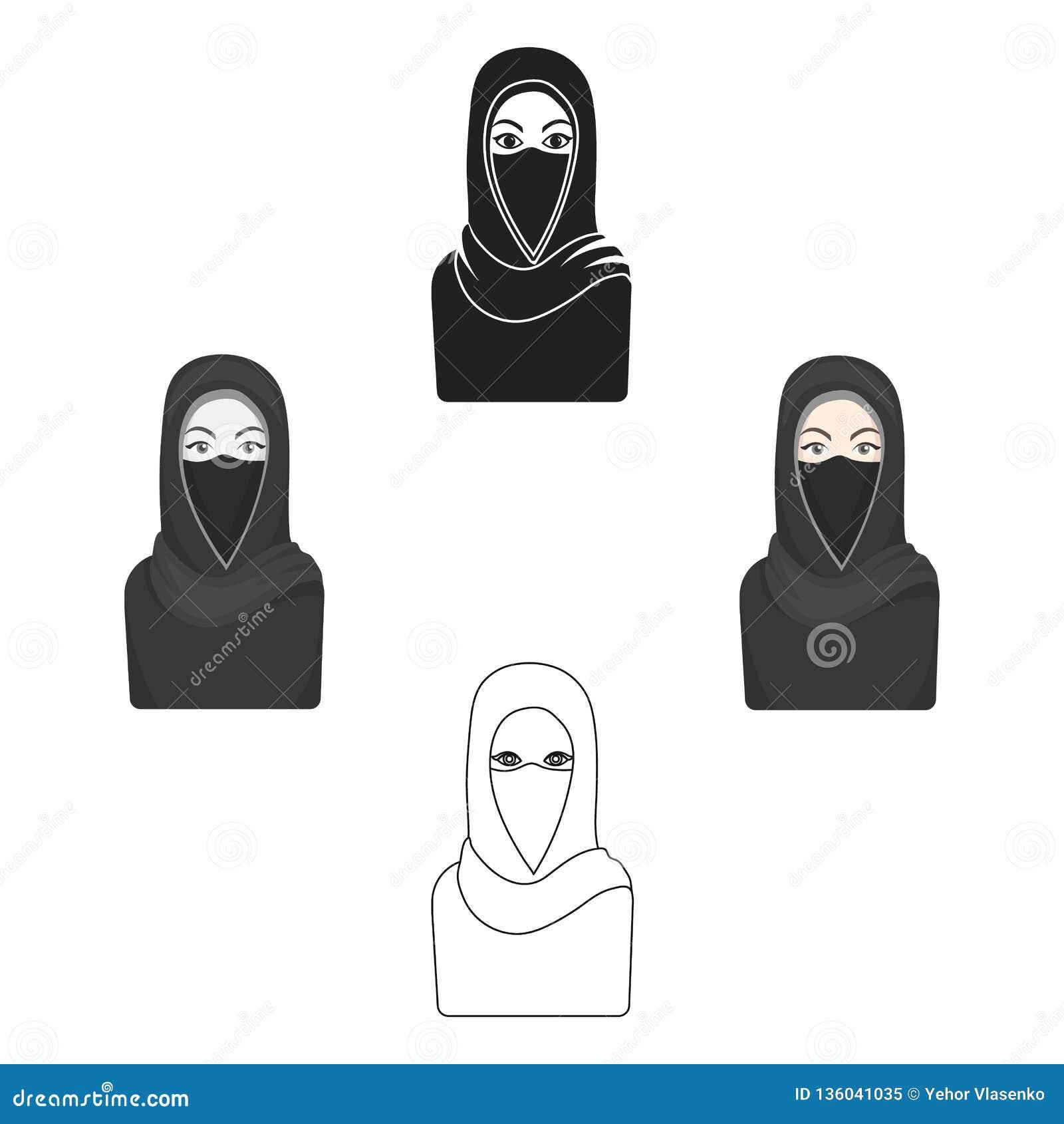 Niqabpictogram in beeldverhaalstijl op witte achtergrond wordt geïsoleerd die De voorraad vectorillustratie van het godsdienstsym